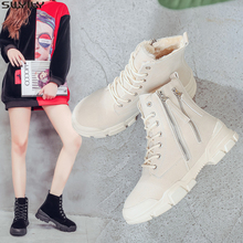 SWYIVY Snow Boots Ladies Canvas Shoes Woman 2019 Winter Side Zip Wedge Shoes Platform Woman Booties Fur Ankle Boots For Women