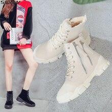 SWYIVY botas de nieve zapatos de señora de lona mujer 2019 cremallera lateral de invierno zapatos de plataforma con cuña botines de mujer Botines de piel de mujer