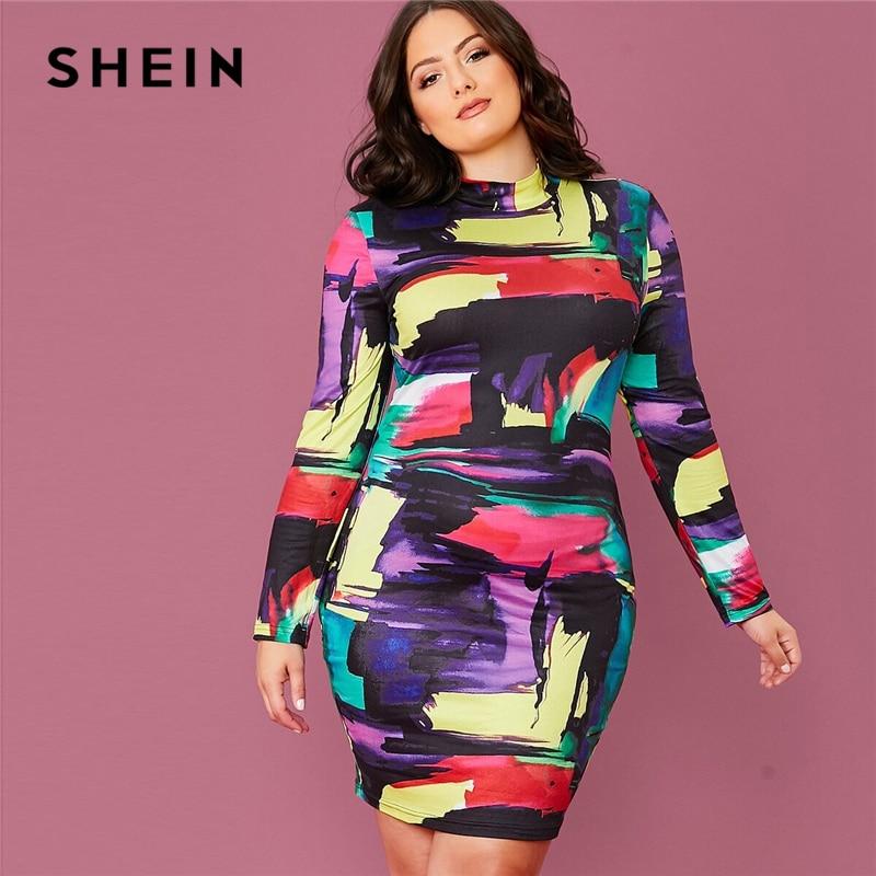 SHEIN Plus Size Multicolor Mock Neck Colorblock Bodycon Dress Women 2020 Spring Elegant Long Sleeve Plus Slim Fit Mini Dresses