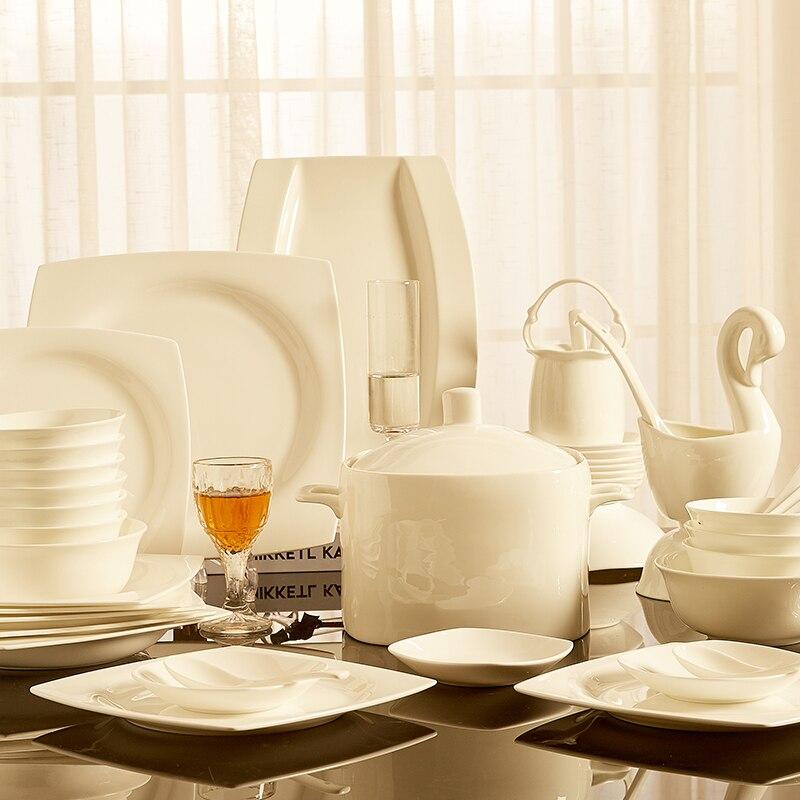 Vaisselle blanche Pure ensemble maison combinaison assiettes bols Jingdezhen céramique os chine vaisselle vaisselle nordique