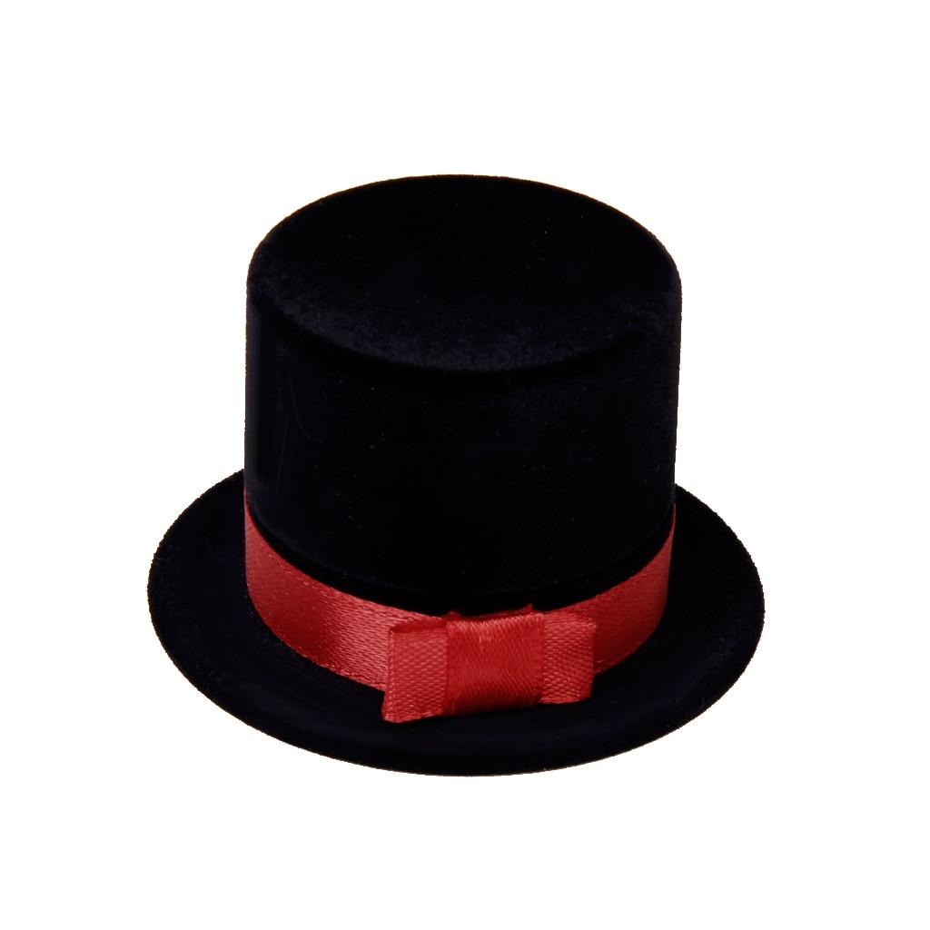 Bridegroom Hat Cap Velvet Ring Earring Cufflink Display Storage Gift Box
