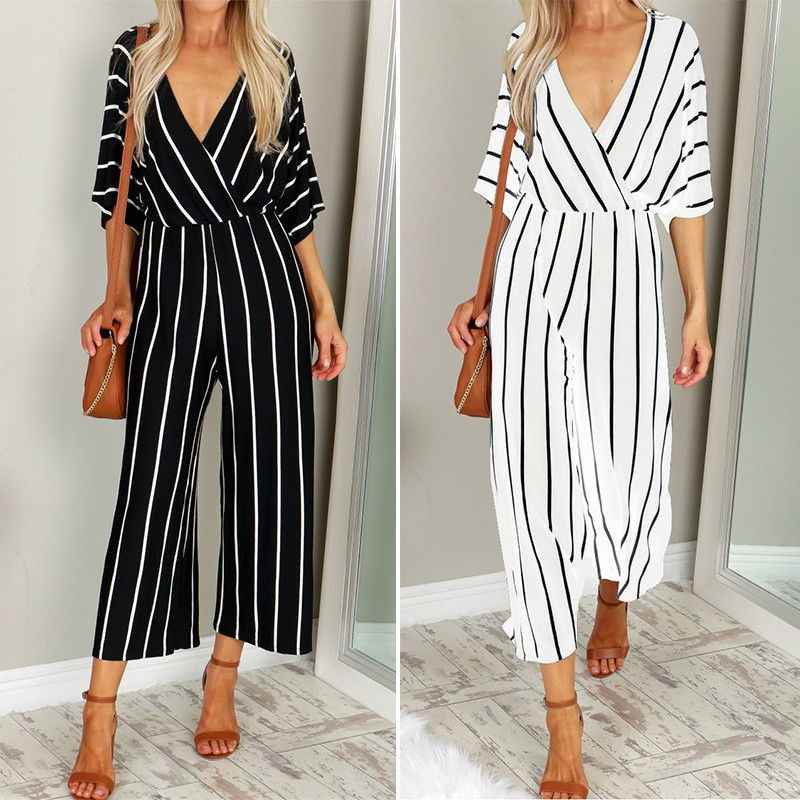 2019 Fashion Women V-Neck Three Quarter Sleeve Striped Loose Jumpsuit Rompers