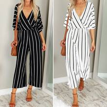 2019 Fashion Women V-Neck Three Quarter Sleeve Striped Loose Jumpsuit Rompers(China)