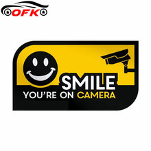 Car Stickers Decor Motorcycle Decals Smile Youre on Camera Security CCTV Decorative Accessories Creative Waterproof PVC11cmX5cm