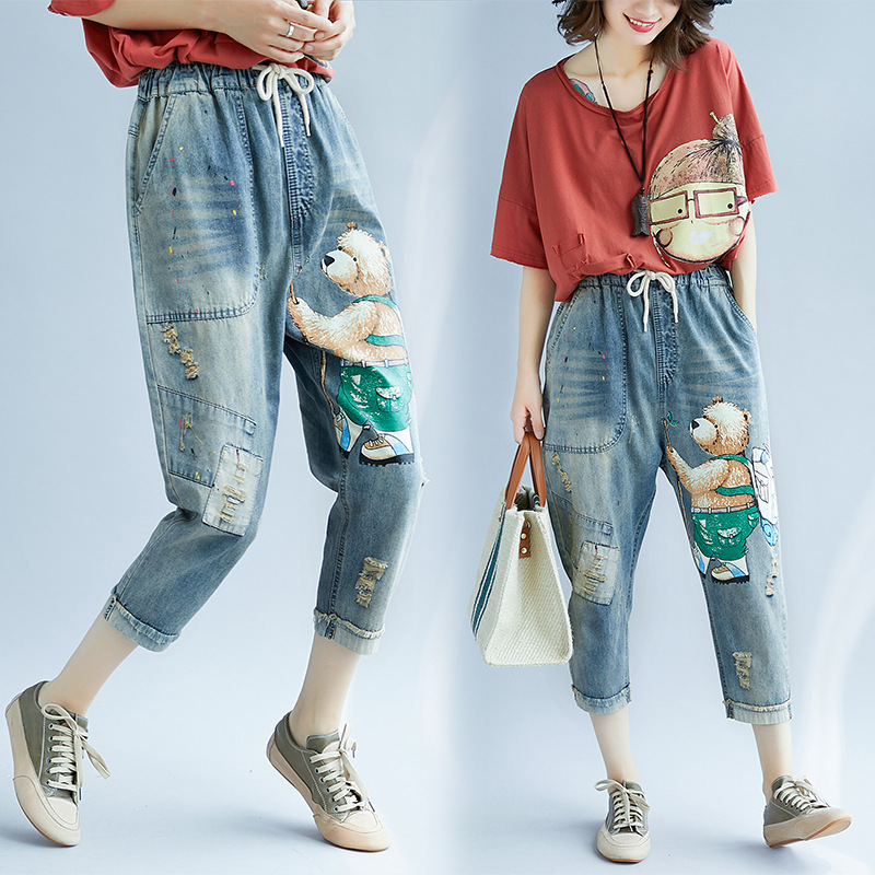 2018 Spring WOMEN'S Jeans Women's Autumn Cartoon Printed Capri Harem Pants Autumn High-waisted