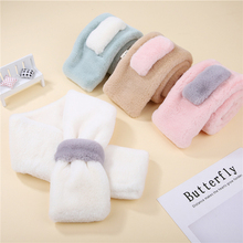 Autumn and winter new solid color plush scarf childrens imitation lazy rabbit hair cross boys simple