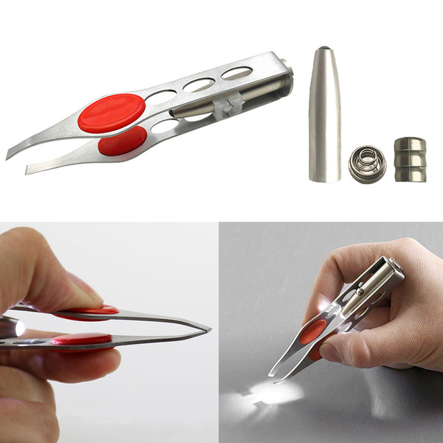 Mini Light  Removal pince a epiler Tweezer Clip Make Up Stainless Steel Four Hole LED Light Eyebrow Clip Hair Removal Tweezers 2