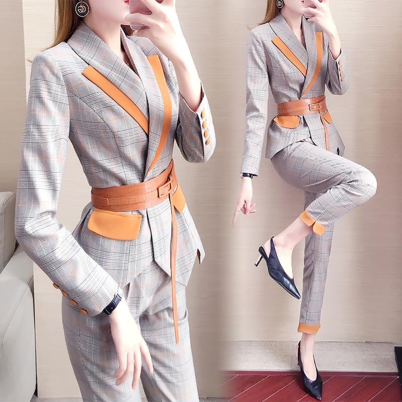 women suits blazer set Plaid pant suits for women Slim suit women's autumn Overalls suit two-piece womens suits set 2 pieces 18