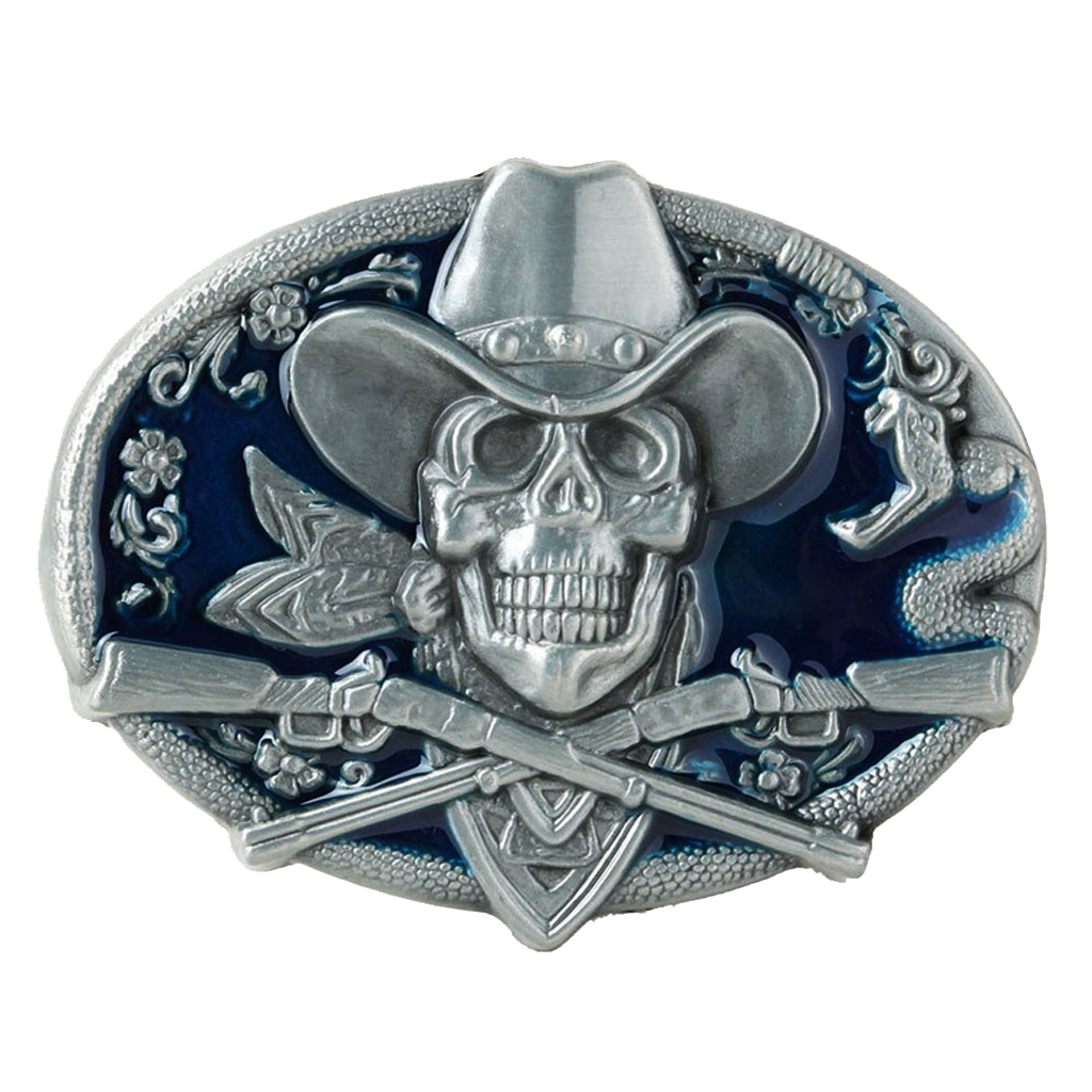 Gothic Skeleton Ghost Head Halloween Hip Hop Cowboy Biker Belt Buckle Blue