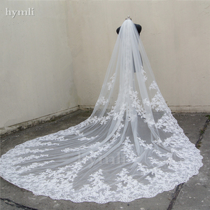 """Image 1 - 118"""" Long, 110"""" Wide 1 Layer Lace Applique Wedding Veil Cathedral Length Bridal Veil with Comb"""