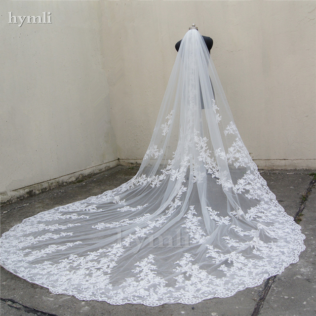 """118"""" Long, 110"""" Wide 1 Layer Lace Applique Wedding Veil Cathedral Length Bridal Veil with Comb"""