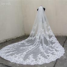 """Véu de noiva com pente, véu de noiva longo, 118 """", 110"""" de largura, aplique de renda, comprimento catedral, 1 camada"""