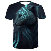 Новинка 3d Футболка с принтом тигра Мужская футболка модным