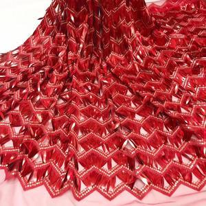 Image 4 - 3Dアフリカレース生地2020高品質レーススパンコール、ナイジェリアレース生地の縫製服パーティードレス5ヤードJ20632