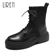 Liren 2019 Summer Fashion Casual Women Lace-up Ankle Boots Round Toe Flat Heels Comfortable