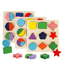Montessori Wooden Jigsaw Cognitive Plate Geometry Paired Board Children Early Education