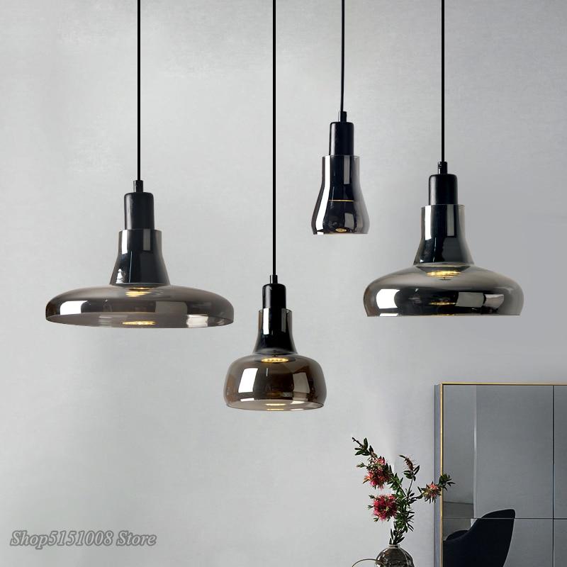 Modern Smoke Gray Glass Pendant Lights Nordic dining room Special Disc Design Pendant Lamp lustre hanging lamp Lighting Fixtures