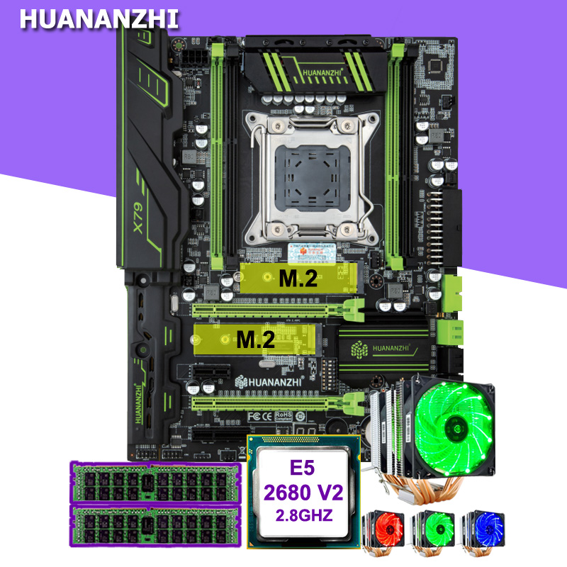 Discount motherboard set new HUANANZHI X79 Pro motherboard with DUAL M.2 slot CPU Intel Xeon E5 <font><b>2680</b></font> V2 CPU cooler RAM 16G(2*8G) image
