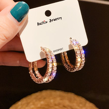 цена на luxury rhinestone inlaid metal loops drop earrings double circles pendant dangle earrings women party jewelry 2019