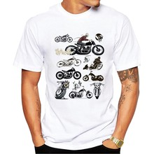 2019 Custom Motor Cycle Club T Shirt Men's Cool Round Collar Motorcycle Helmet Car T-Shirt Graphic Geek Style Fashion(China)