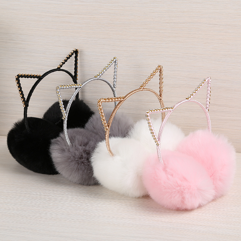 Women's Girls Winter Cute Rhinestone Cat Ear Rabbit Plush Warm Earmuffs Warmer Autumn Winter Plush Warm Cartoon Ear Warmer Bow #