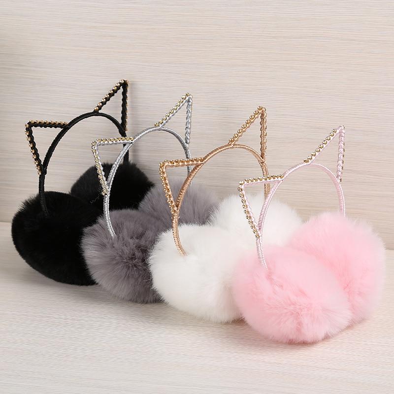 Women's Girls Winter Cute Rhinestone Cat Ear Rabbit Plush Warm Earmuffs Warmer Autumn Winter Plush Warm Cartoon Ear Warmer Bow #
