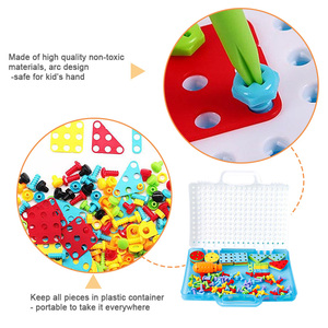 Image 5 - 어린이 도구 세트 완구 어린이 드릴 퍼즐 장난감 전기 드릴 완구 스크류 완구 소년 키즈 드릴 세트