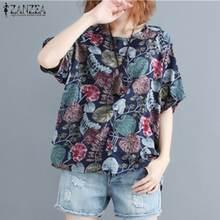 2021 ZANZEA frauen Gedruckt Bluse Mode Sommer T Shirts Casual Kurzarm Blusas Weibliche O Neck Floral Tops Plus größe 7