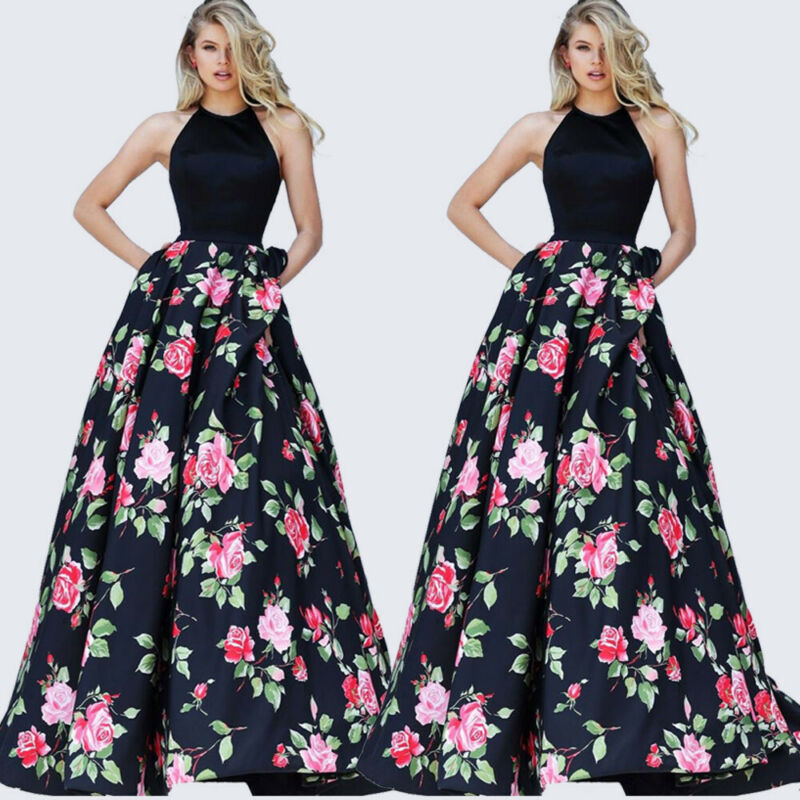 2020 HOT Selling Summer Women Floral Formal Wedding Long Evening Party Ball Prom Gown Dress Maxi Sundress Vestidos Elegant