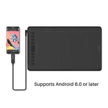 HUION tableta Digital H1161 sin batería, lápiz óptico con función de inclinación, compatible con Android Win y Mac