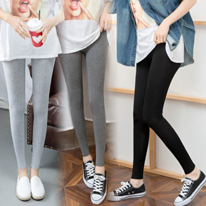 New Autumn Winter Fashion Black Grey Elastic Low Waist Knitted Jogger Pants Leggings Thin Modal Pants Women Slim Leggings