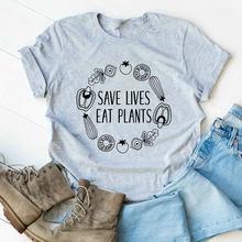 Camiseta con motivos de plantas para mujer, Camiseta con estampado de plantas vegetarianas, camisetas veganas