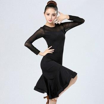 Women Long-sleeved Latin Dress Adult Black Velvet Dancing Ballroom Tango Modern Rumba Cha Salsa Woman Dance Costume - sale item Stage & Dance Wear