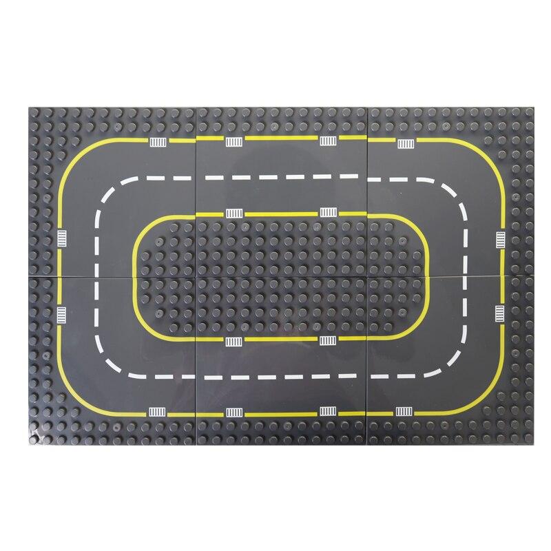 Ville route rue grande taille plaque de Base courbe droite bricolage blocs de construction ensembles LegoINGLs Duplo plaque de Base briques jouets pour enfants