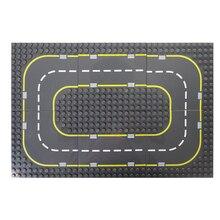 City Road Street Big Size Base Plate Straight Curve DIY Building Blocks Sets LegoINGLs Duplo Baseplate Bricks Toys for Children