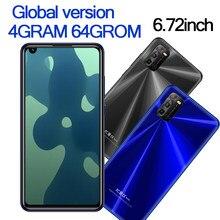 Téléphone portable mondial 10i de 6.72 pouces, 4 go de RAM, 64 go de ROM, caméra avant/arrière de 8mp et 13mp, Android 6.0, reconnaissance faciale