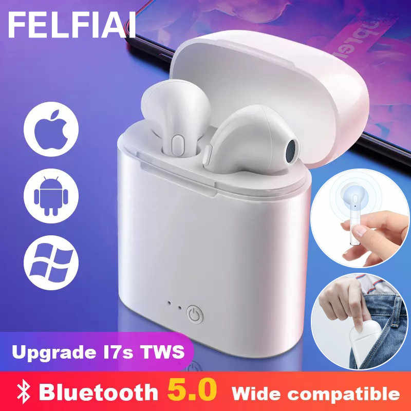 I7s Tws Wireless Headphone Bluetooth Earphone Stereo Earbud Headset dengan Pengisian Kotak MIC untuk Semua Bluetooth Tablet Smartphone