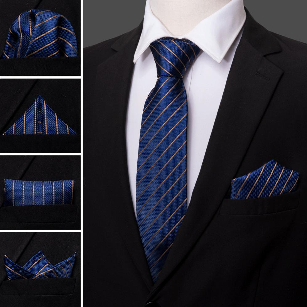 2018 Blue Business Style 100% Silk Fahion Men Tie Striped Pattern Barry.wang Dropshipping Neck Tie For Men Party Wedding LS-5032