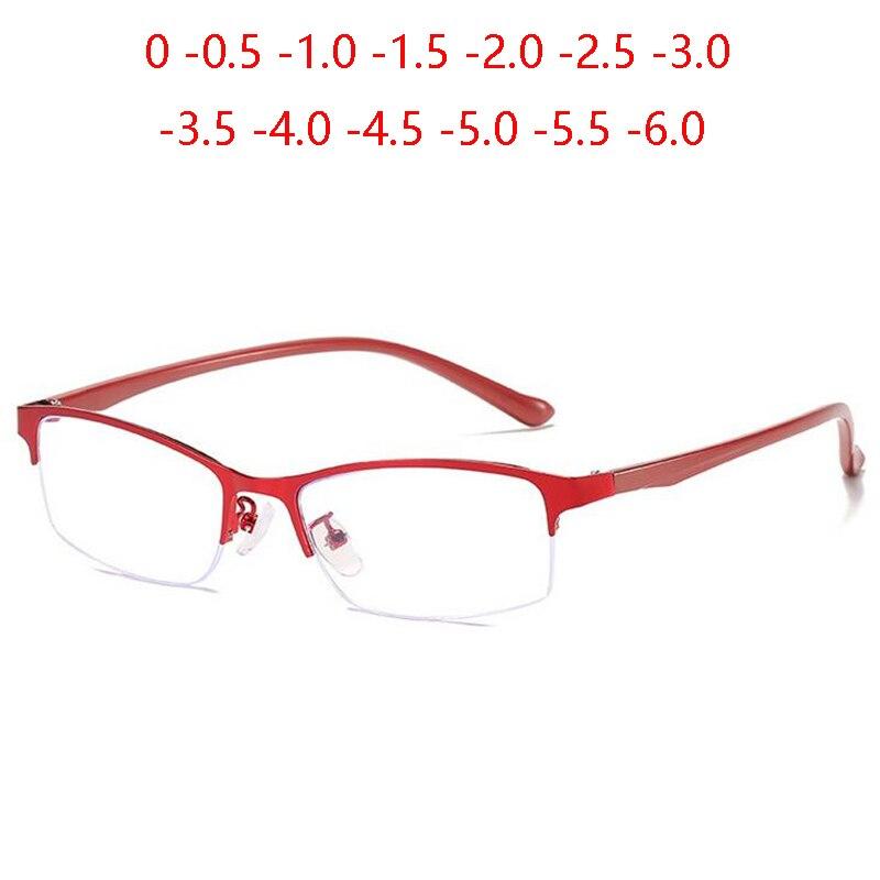 Business Halb Rahmen Frauen Myopie Brille Fertigen Metall Quadrat Kurze-anblick Brillen Weibliche 0-0,5-1,0 zu-6,0