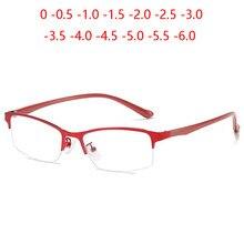 Gafas de miopía para mujer, anteojos cuadrados de Metal con acabado, graduadas, de medio marco para negocios, 0-0,5-1,0 a-6,0