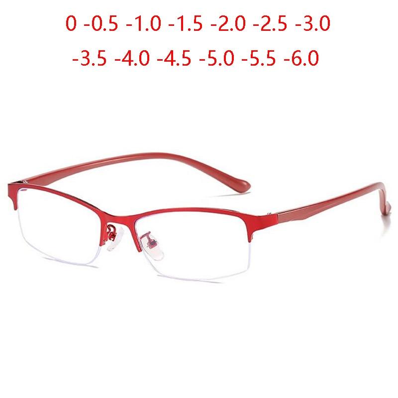 Gafas de miopía para mujeres de medio marco de negocios, gafas graduadas cuadradas de Metal con acabado para miopía, gafas graduadas femeninas 0-0,5-1,0 To-6,0