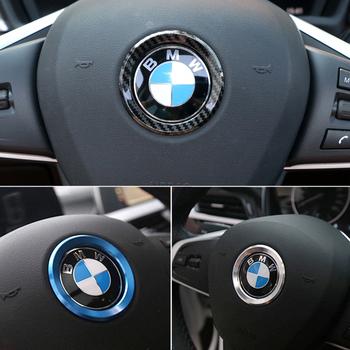 Dekoracja samochodu pierścień koło kierownicy naklejka na M3 M5 E36 E46 E60 E90 E92 BMW X1 F48 X3 X5 X6 tanie i dobre opinie CN (pochodzenie) 6 1cm Aluminum alloy + carbon fiber Etui na bilety parkingowe do samochodów OSJ16