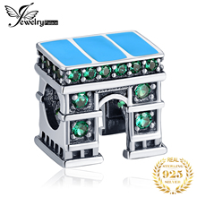 JewelryPalace Green Cubic Zirconia Classic European Architecture Triumphal Arch Charm Bead Fit Bracelet 925 Sterling Silver mistletoe jewelry 925 sterling silver large hole light blue 3d flowers murano glass charm bead fit european bracelet