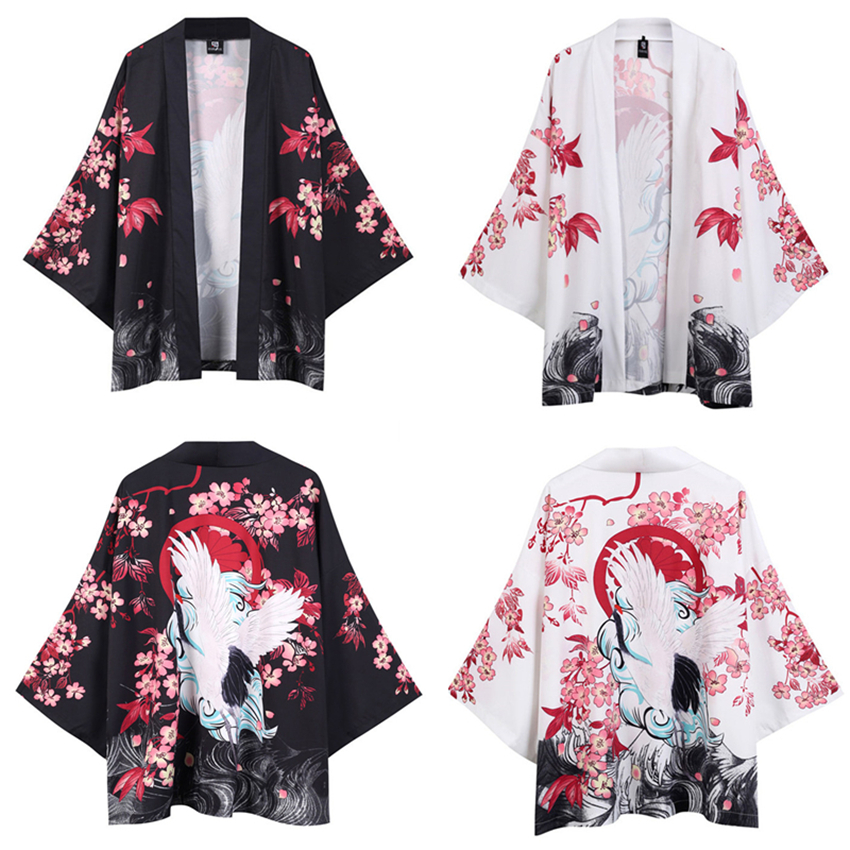 White Black Japanese Traditional Kimono For Man Crane Sakura Print Fashion Haori Cardigan Sunscreen Coat Robe Streetwear
