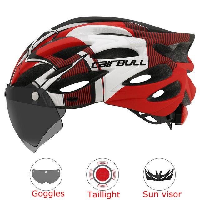 Intergrally-moldado mountain bike capacete com óculos removíveis viseira ajustável das mulheres dos homens bicicleta ciclismo taillight capacete 1