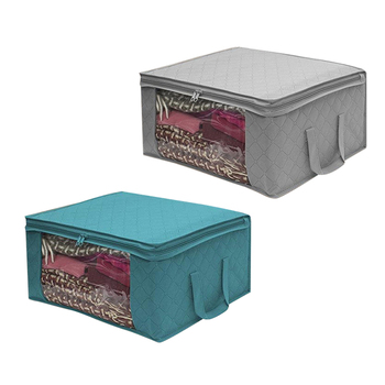 1pc Non Woven Fabric Storage Box Folding Storage Bag Clear Window Zipper Organizer with Handle for Quilt Clothes