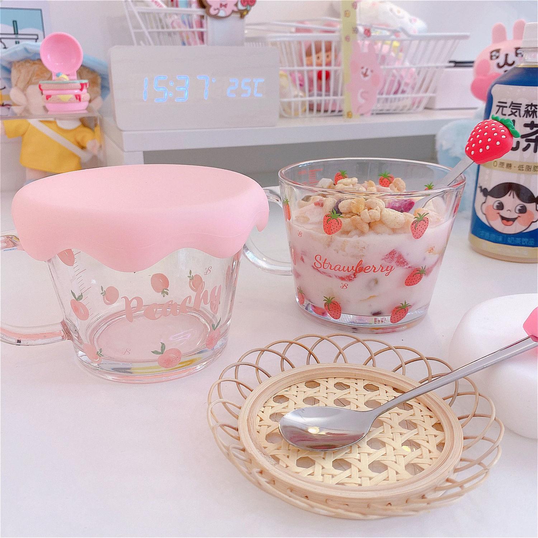 Kawaii Strawberry & Peach Cereal Cups & Spoon 2