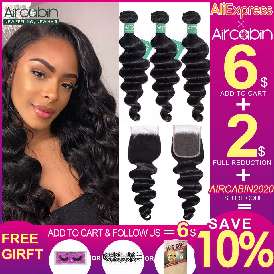 Aircabin Loose Deep Wave Bundles With Closure Brazilian 100% Remy Human Hair Weave Bundles With Swiss Lace Closure Can Be Dyed