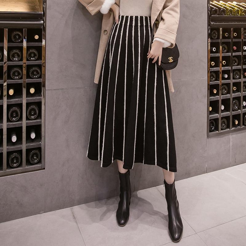 New Winter Wool Knitting Striped Skirts Womens Autumn High Waist Long Skirt Elegant A-line Pleated Skirt