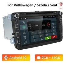 """8 """"אנדרואיד 9.0 IPS DSP רכב DVD רדיו סטריאו GPS מולטימדיה עבור פולקסווגן פולקסווגן פאסאט B6 גולף Tiguan רכב ניווט USB Bluetooth"""